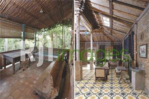 Teras depan rumah bernuansa alami dan table set klasik area ruang tamu